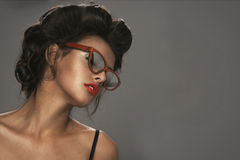 Fashion portrait of a beautiful brunette woman Royalty Free Stock Images