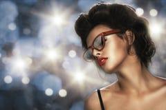 Fashion portrait of a beautiful brunette woman Stock Photos