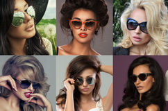 Fashion portrait of a beautiful brunette woman with sunglasses Royalty Free Stock Photos