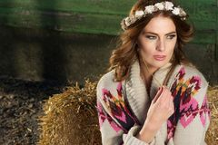 Fashion Portrait of a Beautiful Farm Girl Royalty Free Stock Images