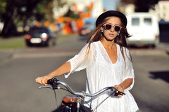 Fashion portrait of beautiful female model Stock Images