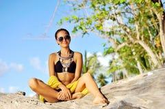 Fashion portrait of beautiful female model posing outdoor Stock Image