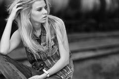 Fashion portrait of a beautiful girl stock photo