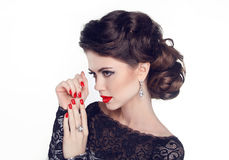Fashion Portrait Of Beautiful Girl with red nails and lips. Vogu Stock Photos