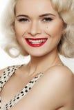 Fashion portrait of beautiful laughing woman model stock photography
