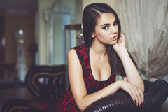 Fashion portrait of a beautiful luxurious woman Royalty Free Stock Photography
