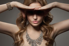 Fashion Portrait Of Beautiful Luxury Woman With Jewelry stock images
