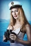 Fashion portrait of beautiful pinup girl stock photography
