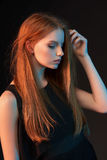 Fashion portrait of beautiful red haired girl Stock Images