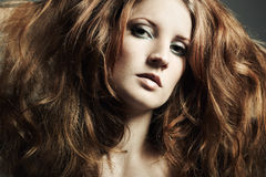 Fashion portrait beautiful redheaded woman Stock Images