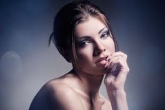 Fashion portrait of the beautiful woman Stock Images