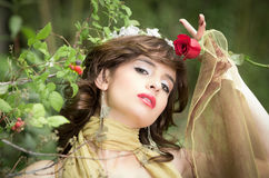 Fashion portrait, beautiful Woman with berries Royalty Free Stock Photo