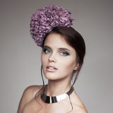 Fashion Portrait Of Beautiful Woman With Blue Flower Hydrangea Royalty Free Stock Images
