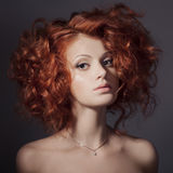 Fashion Portrait. Beautiful Woman. Curly Hair. Royalty Free Stock Image