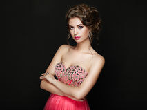 Fashion portrait of beautiful woman in elegant dress Royalty Free Stock Images