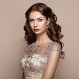 Fashion portrait of beautiful woman in elegant dress Royalty Free Stock Photo