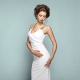 Fashion portrait of beautiful woman in elegant dress Stock Images