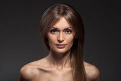 Fashion Portrait. Beautiful Woman Face. Long Healthy Hair. Stock Image