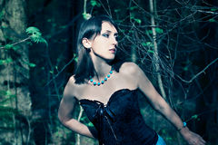 Fashion Portrait of Beautiful Woman in the Forest Stock Image