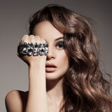 Fashion Portrait Of Beautiful  Woman With Jewelry Stock Photography