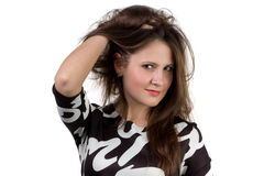 Fashion portrait of beautiful woman touching hair Royalty Free Stock Images