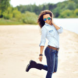 Fashion portrait of a beautiful young sexy woman Stock Photography