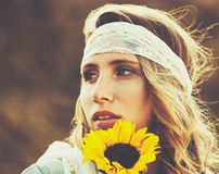 Fashion Portrait of Beautiful Young Woman Royalty Free Stock Photography