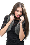 Fashion portrait - beautiful young woman in pretty lace dress Royalty Free Stock Image
