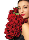 Fashion portrait of a beautiful young woman with roses Stock Photo