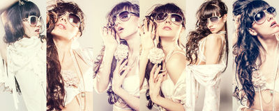 Fashion portrait of a beautiful young woman wearing sunglasses Royalty Free Stock Photo