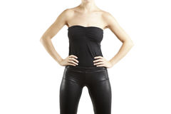 Fashion portrait with black pants Royalty Free Stock Images
