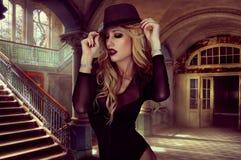 Fashion portrait of blond woman