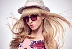Fashion Portrait Blond Woman in Stylish glasses. Royalty Free Stock Photo