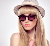 Fashion Portrait Blond Woman in Stylish glasses. Stock Photography