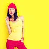 Fashion portrait of bright stylish girl Royalty Free Stock Photos