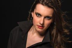Fashion portrait brunette woman in black shirt Royalty Free Stock Photos