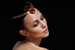 Fashion portrait of charming glamourous woman on black backgroun Royalty Free Stock Photo