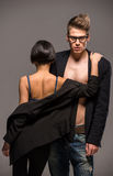 Fashion portrait of a couple Royalty Free Stock Photography