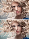 Fashion portrait curly blonde Stock Photo