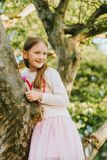 Fashion portrait of a cute little girl of 7 years old royalty free stock images