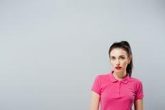 Fashion portrait of elegant Girl in pink dress Royalty Free Stock Photo