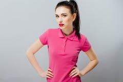 Fashion portrait of elegant Girl in pink dress Royalty Free Stock Photos
