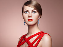 Fashion portrait of elegant woman with magnificent hair Royalty Free Stock Photography