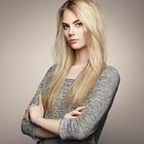 Fashion portrait of elegant woman with magnificent hair Royalty Free Stock Photos