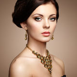 Fashion portrait of elegant woman with magnificent hair Stock Photography
