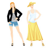 Fashion portrait of elegant woman. Vector illustration of fashion portrait of elegant woman wearing straw hat, white top, striped top, jeans shorts and maxi Royalty Free Stock Photos