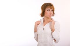 Fashion portrait of a girl. The beautiful girl with short hair royalty free stock image