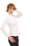 Fashion portrait of a girl. Beautiful girl in a white shirt royalty free stock photos