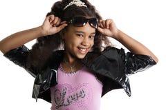 Fashion portrait of girl child. Sunglasses. Stock Images