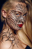 Fashion portrait of girl with faceart Royalty Free Stock Image